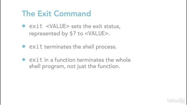 Defining functions and using return and exit: Linux: Bash Shell and Scripts