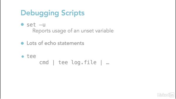 Debugging scripts with -x and -u options: Linux: Bash Shell and Scripts