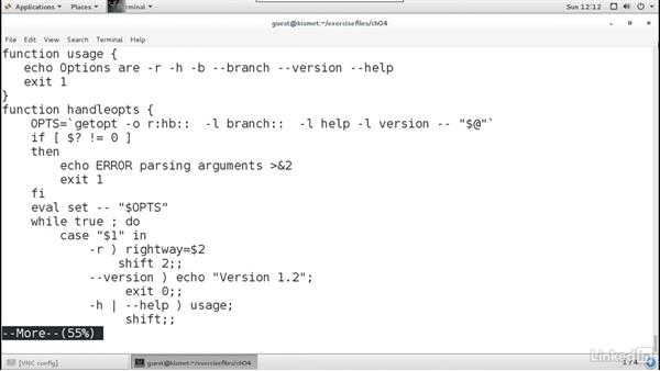 Using the eval and getopt commands: Linux: Bash Shell and Scripts
