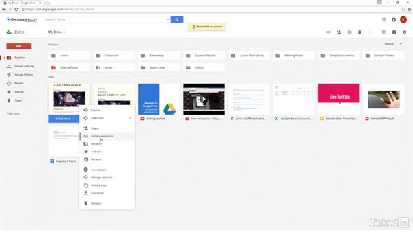 Sharing options in Google Drive: Google Apps 2016 for Education Essential Training