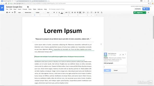 Provide feedback in Google Docs: Google Apps 2016 for Education Essential Training