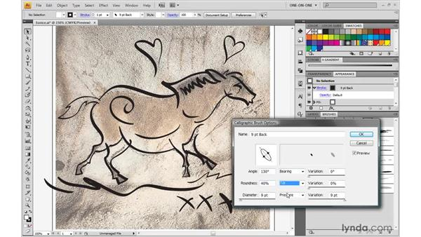 Editing a calligraphic brush: Illustrator CS4 One-on-One: Advanced