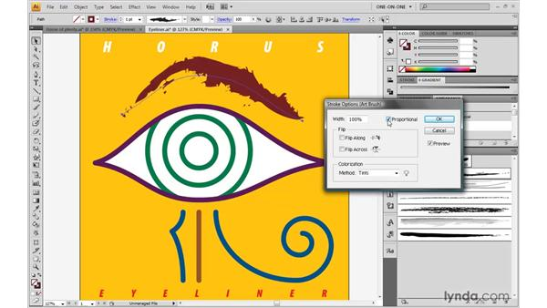 Applying and scaling an art brush: Illustrator CS4 One-on-One: Advanced