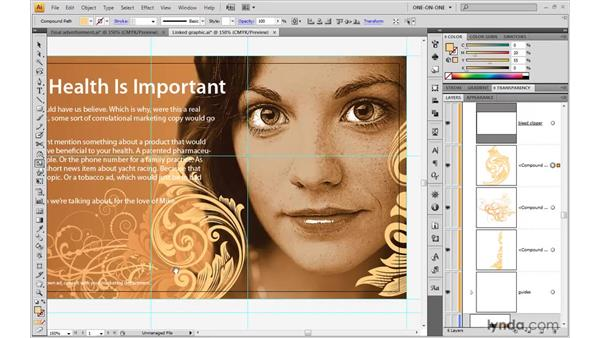 Integrating an image into a design: Illustrator CS4 One-on-One: Advanced