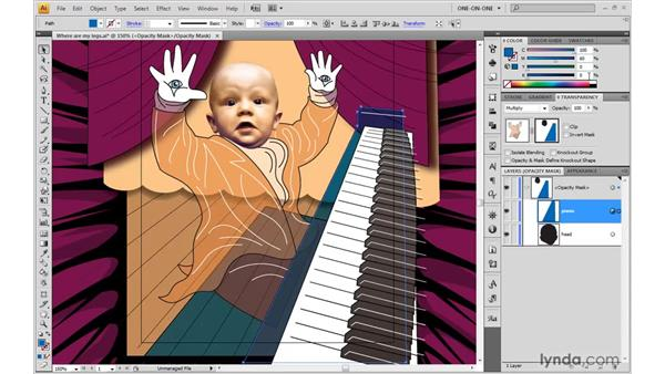 Adding to an existing opacity mask: Illustrator CS4 One-on-One: Advanced