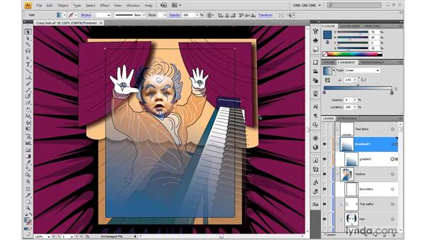 Blend mode and transparent gradient: Illustrator CS4 One-on-One: Advanced