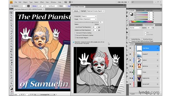 Working with the Flattener preview: Illustrator CS4 One-on-One: Advanced