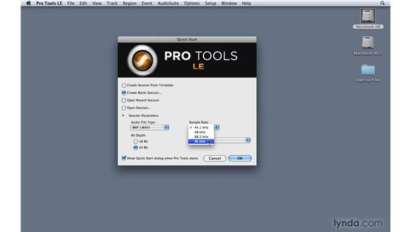 Creating a Pro Tools session: Pro Tools 8 Essential Training