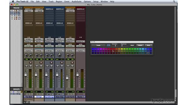 Using the Color palette and window arrangements: Pro Tools 8 Essential Training
