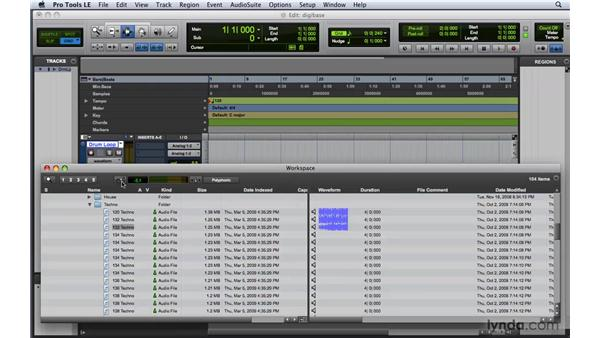 Using DigiBase and the Workspace browser: Pro Tools 8 Essential Training