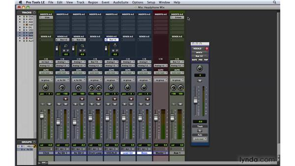 Creating a headphone (cue) mix: Pro Tools 8 Essential Training
