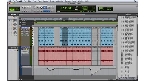 Using the Selector and Grabber tools: Pro Tools 8 Essential Training