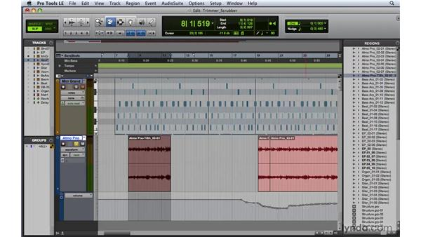 Using the Trimmer and Scrubber tools: Pro Tools 8 Essential Training