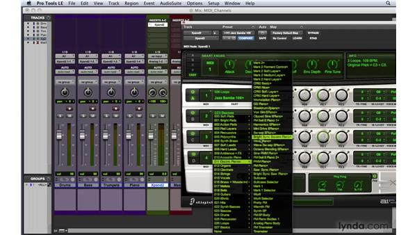 Recording multiple MIDI tracks with one virtual instrument: Pro Tools 8 Essential Training