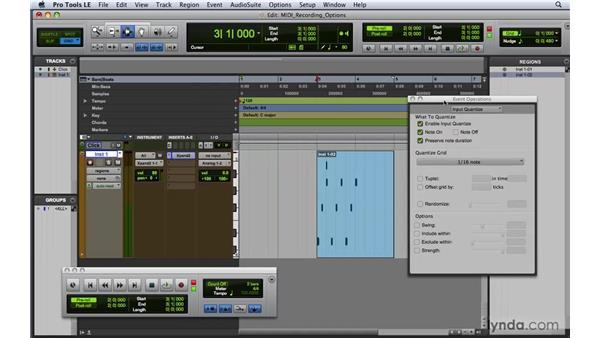 Recording options for MIDI: Pro Tools 8 Essential Training