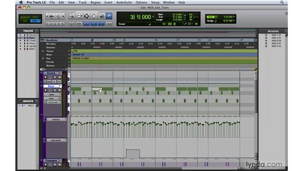 Using the edit tools for editing MIDI data : Pro Tools 8 Essential Training