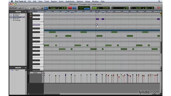 Editing MIDI data with the MIDI Editor: Pro Tools 8 Essential Training