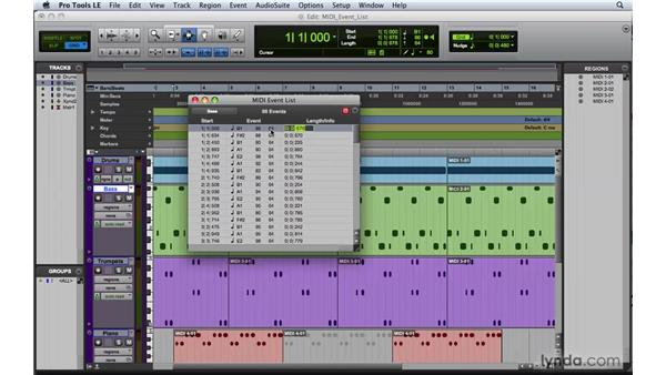 Working with the MIDI event list: Pro Tools 8 Essential Training