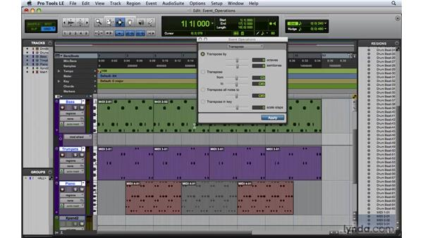 Editing MIDI data with event operations: Pro Tools 8 Essential Training