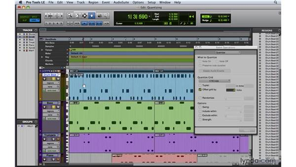 Quantizing MIDI tracks: Pro Tools 8 Essential Training