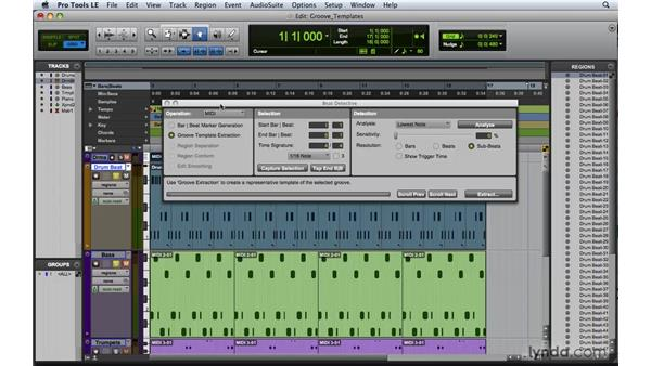 Creating and using groove templates: Pro Tools 8 Essential Training