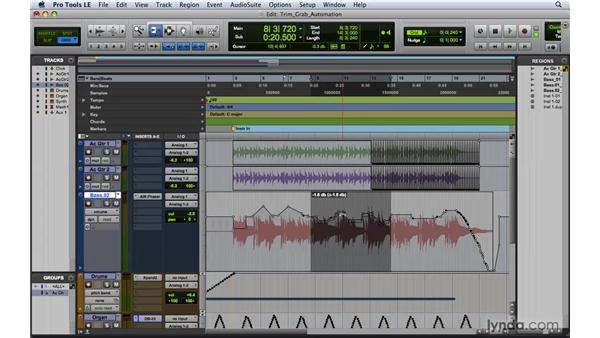 Editing automation with the Trimmer and Grabber tools: Pro Tools 8 Essential Training