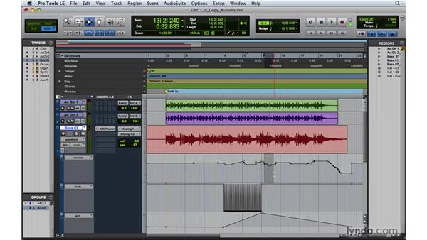 Cutting, copying, pasting, and clearing automation: Pro Tools 8 Essential Training