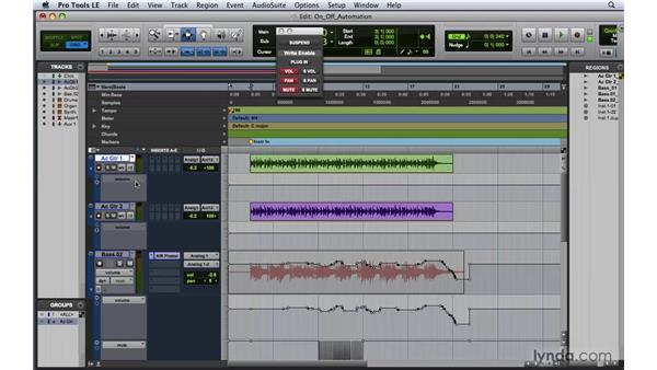 Turning automation on and off: Pro Tools 8 Essential Training