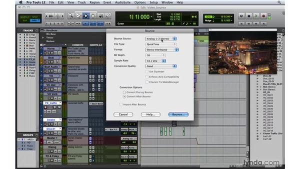 Bouncing down video and audio together: Pro Tools 8 Essential Training
