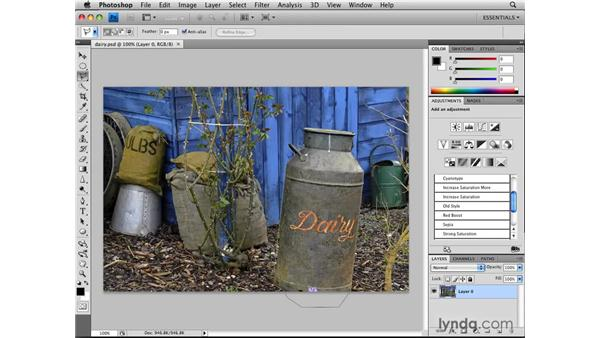 Selecting straight edges with the Polygonal Lasso tool: Photoshop CS4: Selections in Depth