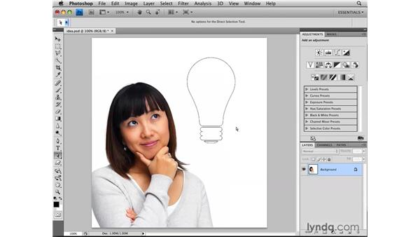 Making selections from shapes: Photoshop CS4: Selections in Depth