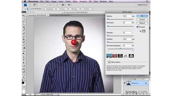 Fine-tuning selections in Refine Edge: Photoshop CS4: Selections in Depth