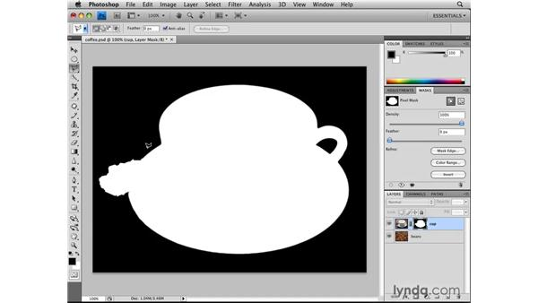 Creating layer masks from selections: Photoshop CS4: Selections in Depth