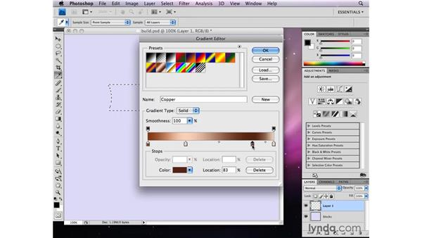 Combining selections to build a graphic: Photoshop CS4: Selections in Depth