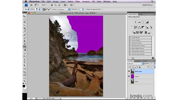 Working with the Background Eraser tool: Photoshop CS4: Selections in Depth