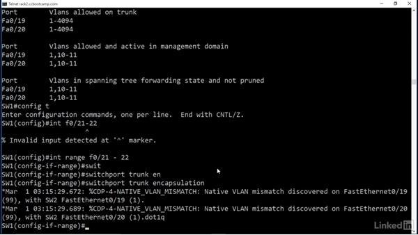 Configure trunk links: Cert Prep: Cisco Certified Entry Networking Technician (100-105)