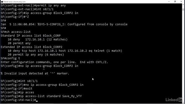 Secure VTY (telnet/SSH) access: Cert Prep: Cisco Certified Entry Networking Technician (100-105)