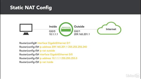 Static NAT: Cert Prep: Cisco Certified Entry Networking Technician (100-105)