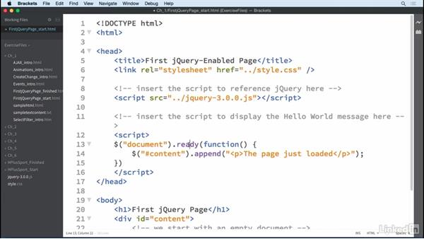 Your first jQuery-enabled page: jQuery Essential Training