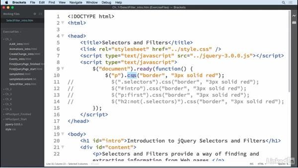 Selectors and filters: jQuery Essential Training