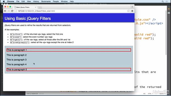 Basic filters: jQuery Essential Training