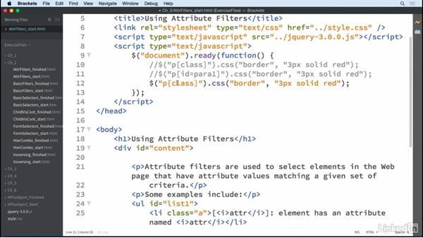 Attribute filters: jQuery Essential Training