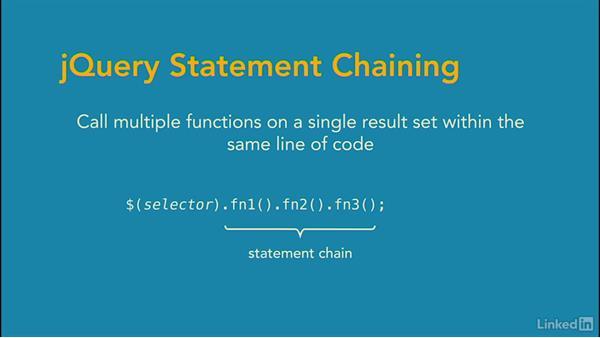jQuery statement chaining: jQuery Essential Training