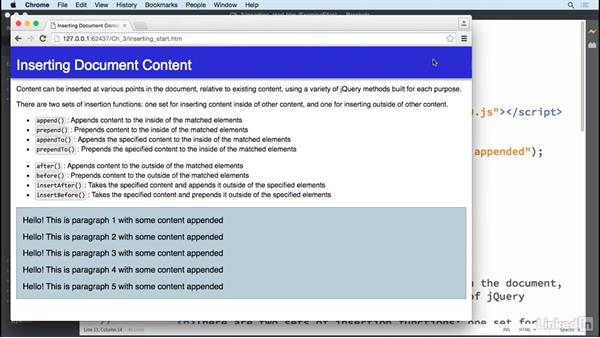 Inserting page content: jQuery Essential Training