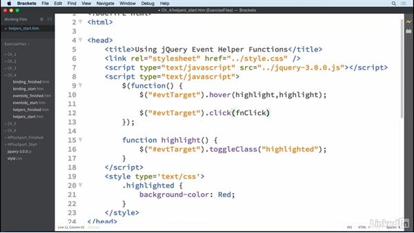 Event helper features: jQuery Essential Training