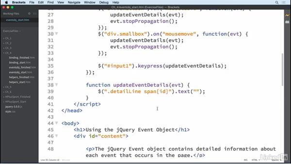 Using the jQuery event object: jQuery Essential Training