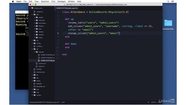 Migration methods: Ruby on Rails 5 Essential Training
