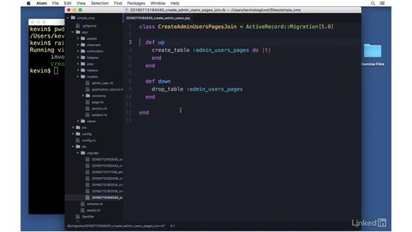 Many-to-many associations: Simple: Ruby on Rails 5 Essential Training