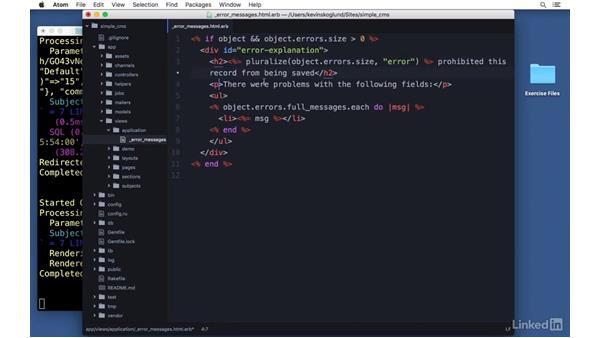 Form errors: Ruby on Rails 5 Essential Training