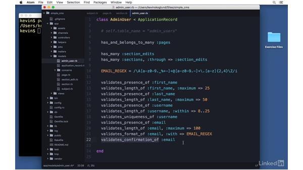Write validations: Ruby on Rails 5 Essential Training
